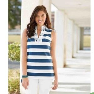 WILLOW CROCHET NAVY STRIPE TUNIC BY MUD PIE